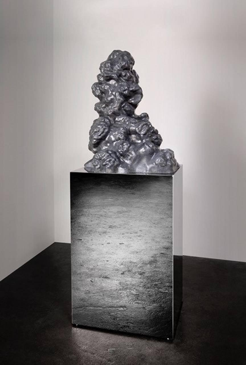 """""""Cumulus Stone No. 3"""" Large Abstract Carved Marble Sculpture, Mirror Base"""