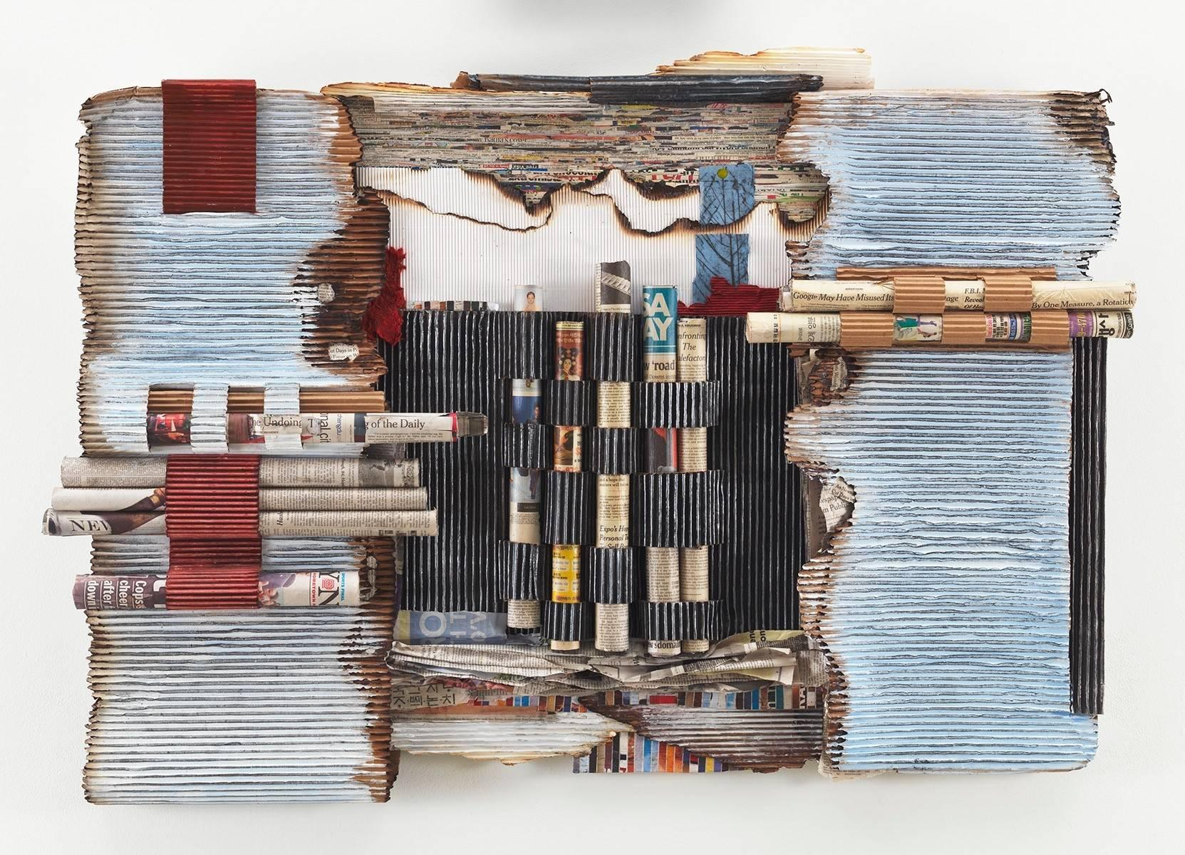 """""""Fahrenheit 451"""" Abstract, Mixed Media & Paper Wall Relief Sculpture, Collage"""