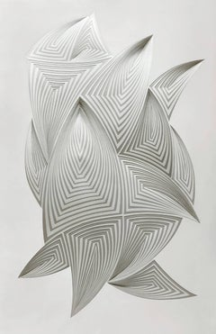 """Free Form #1"" Hand Cut Paper Wall Relief Sculpture, Abstract, White, Gray"