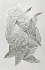 Free Form-white abstract, hand cut paper sculpture/wall relief