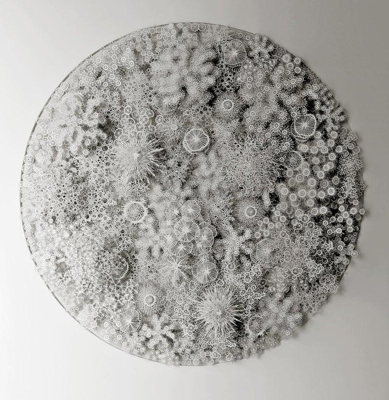 "Rogan Brown Abstract Sculpture - ""Magic Circle"" Hand Cut & Laser Cut Paper, Organic Wall Relief Sculpture"