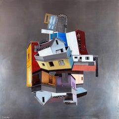 """Kenopsia"", Mike Sagato, Oil Painting on Aluminum, 2014"