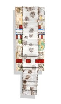 """Exodus"", Joan Giordano, Mixed Media, Handmade Paper, Newspaper, Wall Hanging"