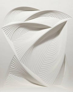 """White Freeform - In"", Hand Cut Paper Wall Relief Sculpture, Abstract"
