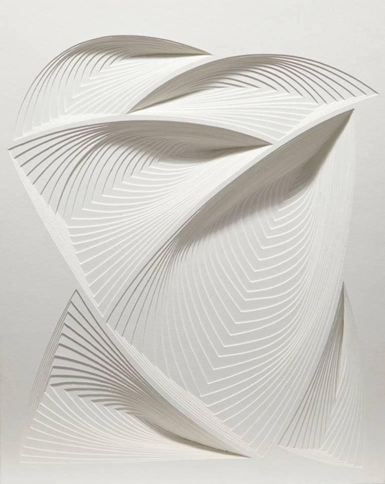 """White Freeform - In"", Elizabeth Gregory-Gruen, Hand Cut Paper Wall Sculpture"