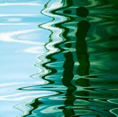 Water Reflection, Abstract Color Photography by Geoffrey Baris, Blue, Green