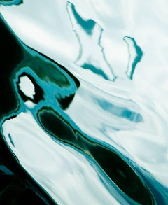 Water Reflection, Abstract Color Photography by Geoffrey Baris, Blue, Black