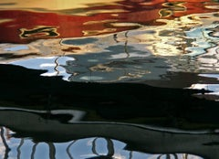 Water Reflection, Abstract Color Photography by Geoffrey Baris, Red, Black