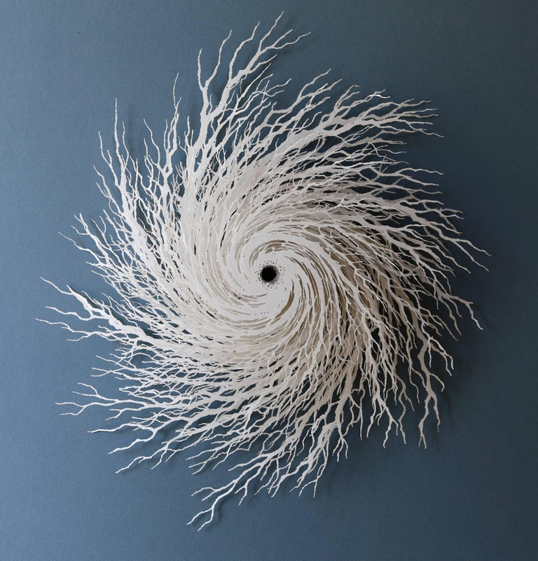 """Whirlwind"", Abstract Paper Wall Sculpture, Hand Cut, Laser Cut"