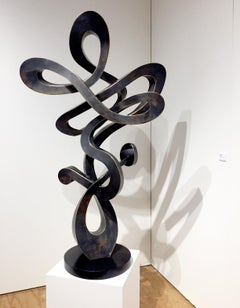"""""""Revolve"""", Unique Fabricated Bronze Abstract Sculpture"""