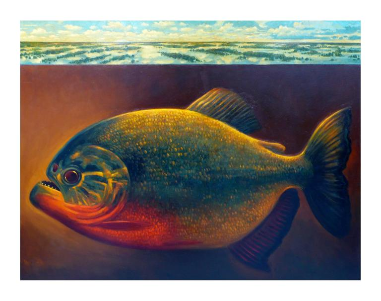 Andre Von Morisse Piranha Oil On Two Canvases With