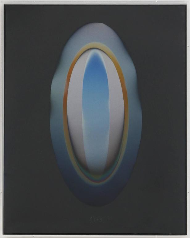 Larry Bell Abstract Painting - MELBKIN #24 (Medium Elipse on Black with Insert