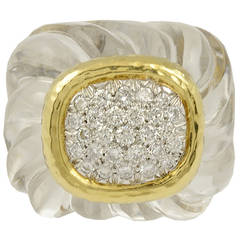 David Webb Rock Crystal Diamond Ring