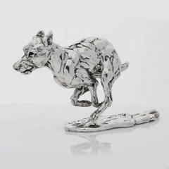Lucy Kinsella 'Bunched Terrier' Sterling Silver Sculpture