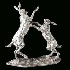 Lucy Kinsella 'Boxing Hares' sterling silver sculpture