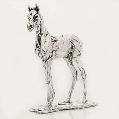 Lucy Kinsella 'Standing Foal' sterling silver sculpture