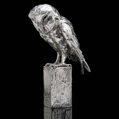 Lucy Kinsella 'Owl on Post' sterling silver sculpture