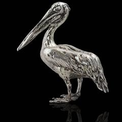 Lucy Kinsella 'Tall pelican ' sterling silver sculpture