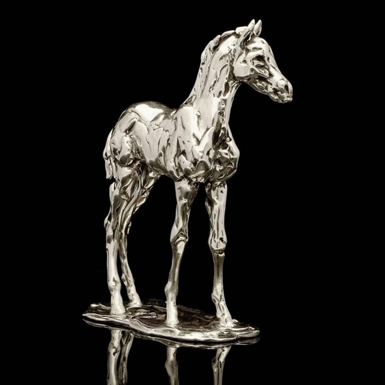 Lucy Kinsella 'Standing Foal' sterling silver sculpture  - Contemporary Sculpture by Lucy Kinsella