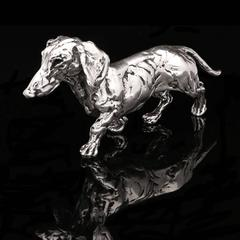 Lucy Kinsella 'Dachshund' sterling silver sculpture