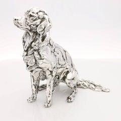 Seated Golden Retriever sterling silver sculpture
