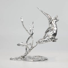 'Otter Chasing Trout' Sterling Silver Sculpture By Lucy Kinsella