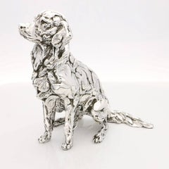 Seated Golden Retriever sterling silver sculpture