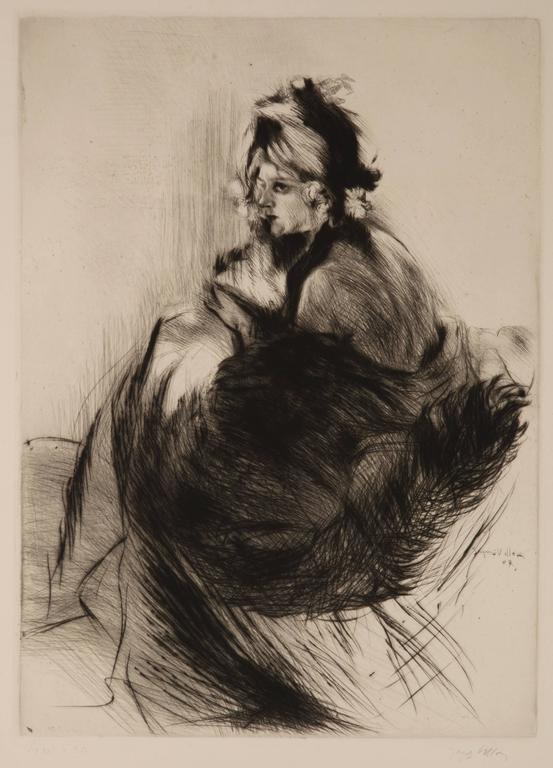 Jacques Villon Portrait Print - Chapeau 1830 or Le Chapeau de Grand-Mère (The Grandmother's Hat)