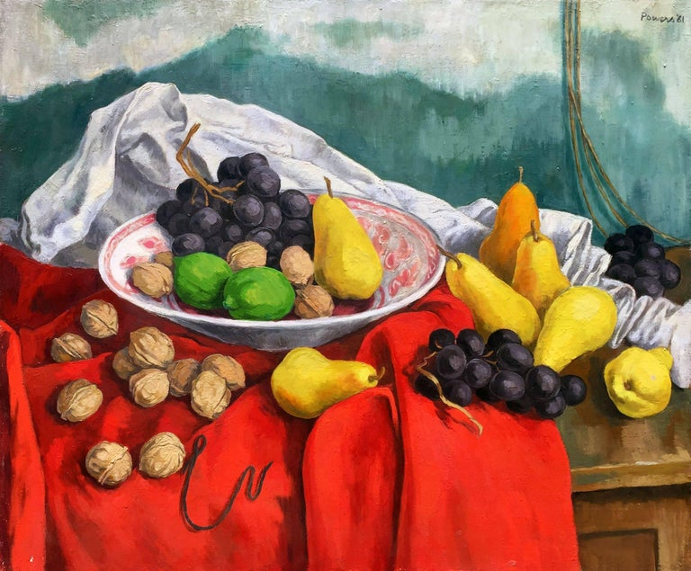 Anne Lyman Powers Still-Life Painting - Still Life with Grapes, Pears, and Walnuts