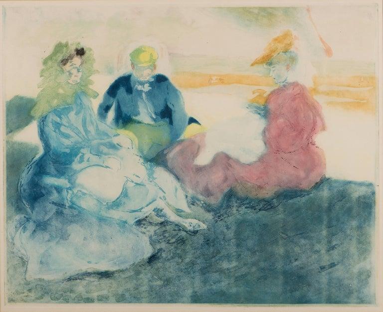 Jacques Villon Figurative Print - Sous la Tente, Sur la Plage, Bionville
