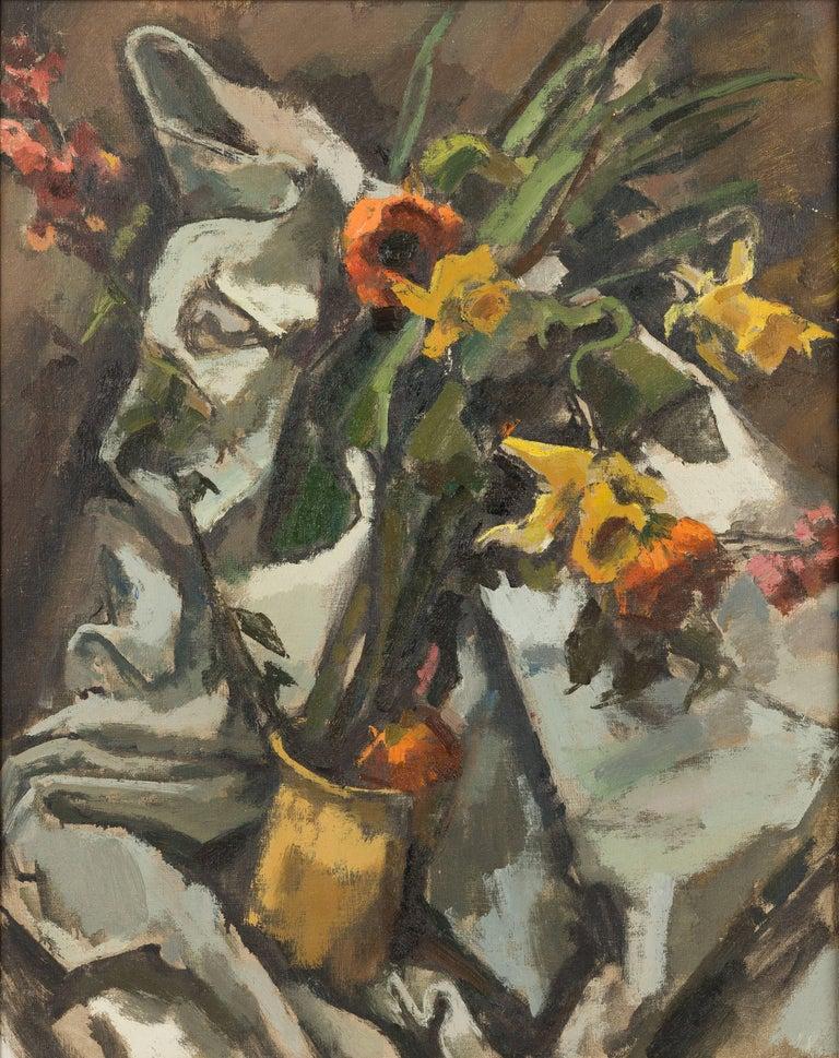 Herbert Barnett Still-Life Painting - Still Life with Daffodils and Poppies