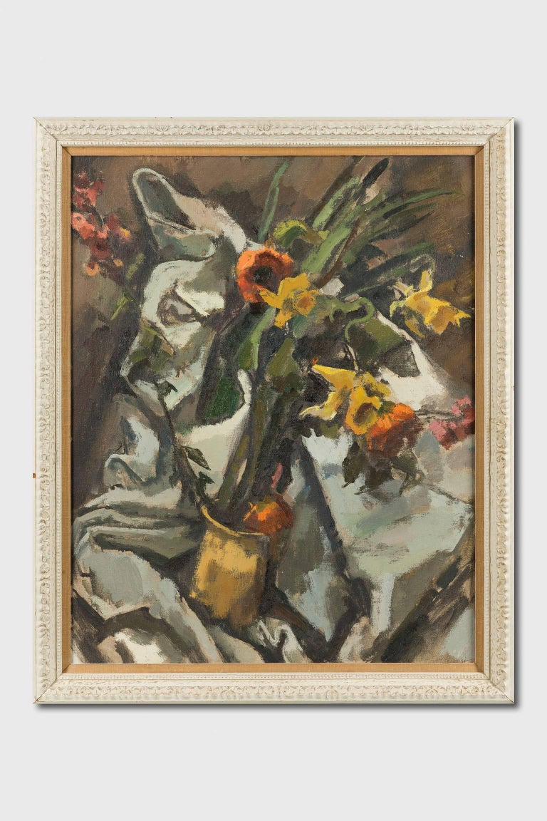 Still Life with Daffodils and Poppies - Painting by Herbert Barnett