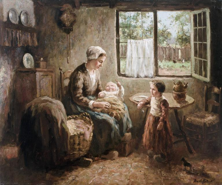 Andries van den Berg - Mother with baby in her lap, Painting at 1stdibs