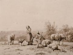 Shepherdess watching her sheep