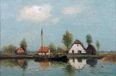 Landscape with farmstead and boat