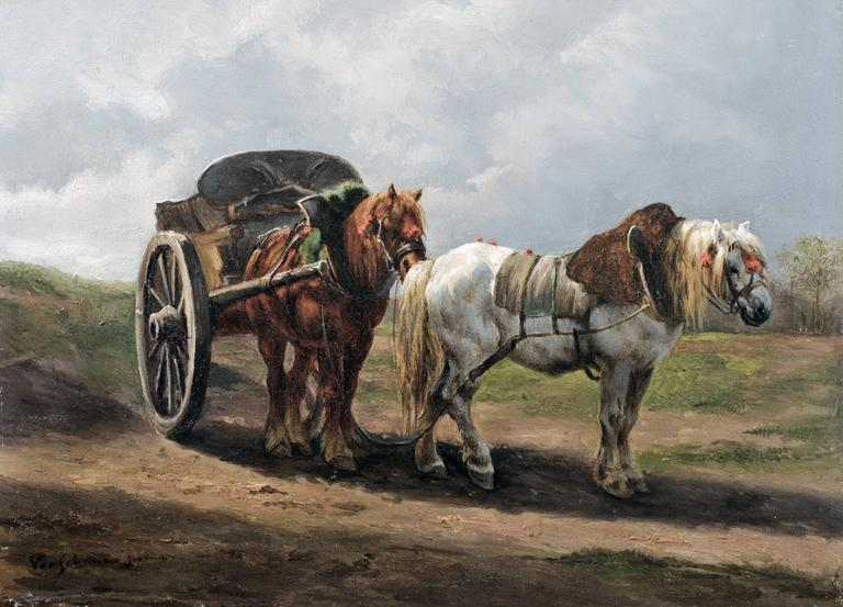Wouter Verschuur Jr. - Carriage drawn by two horses, Painting at 1stdibs