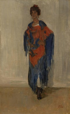 Elegant young woman in a red and blue dress; Possibly Guusje van Dongen, Kees's