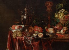 Still life with fruit, animals and vases