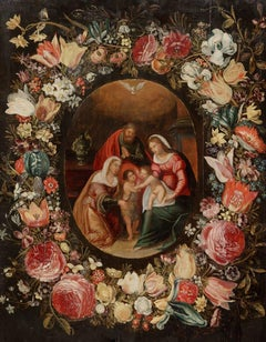 The communion of Saints in a Floral Wreath