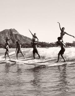 Brian Keaulana and Missy Raider Tandem Surfing Diamond Head