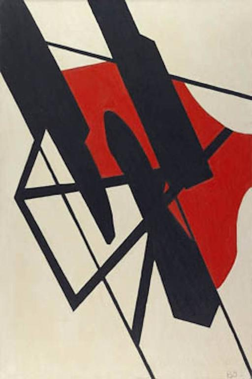 Balcomb Greene Black And Red Tension Painting For Sale