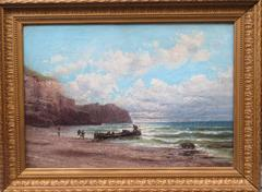 Cliff in Normandy Oil on canvas Framed by Godchaux