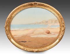 Nude on the beach by René ROUSSEAU DECELLE