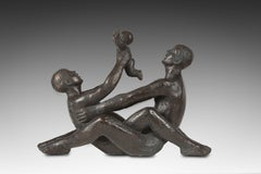 Couple with a Child Bronze by Michel Serraz