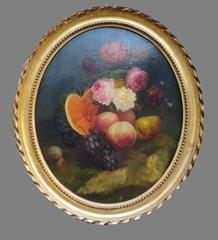 Pair of Still Life Oval Paintings