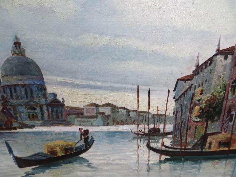 Venice Grand Canal - Gray Landscape Painting by PAUL DE FRICK