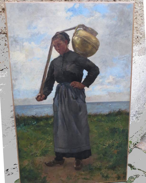 Water carrier by Pierre-Emmanuel DAMOYE - Barbizon School Painting by Pierre Emmanuel DAMOYE