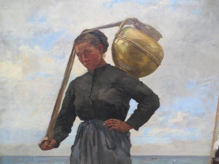Water carrier by Pierre-Emmanuel DAMOYE - Black Portrait Painting by Pierre Emmanuel DAMOYE