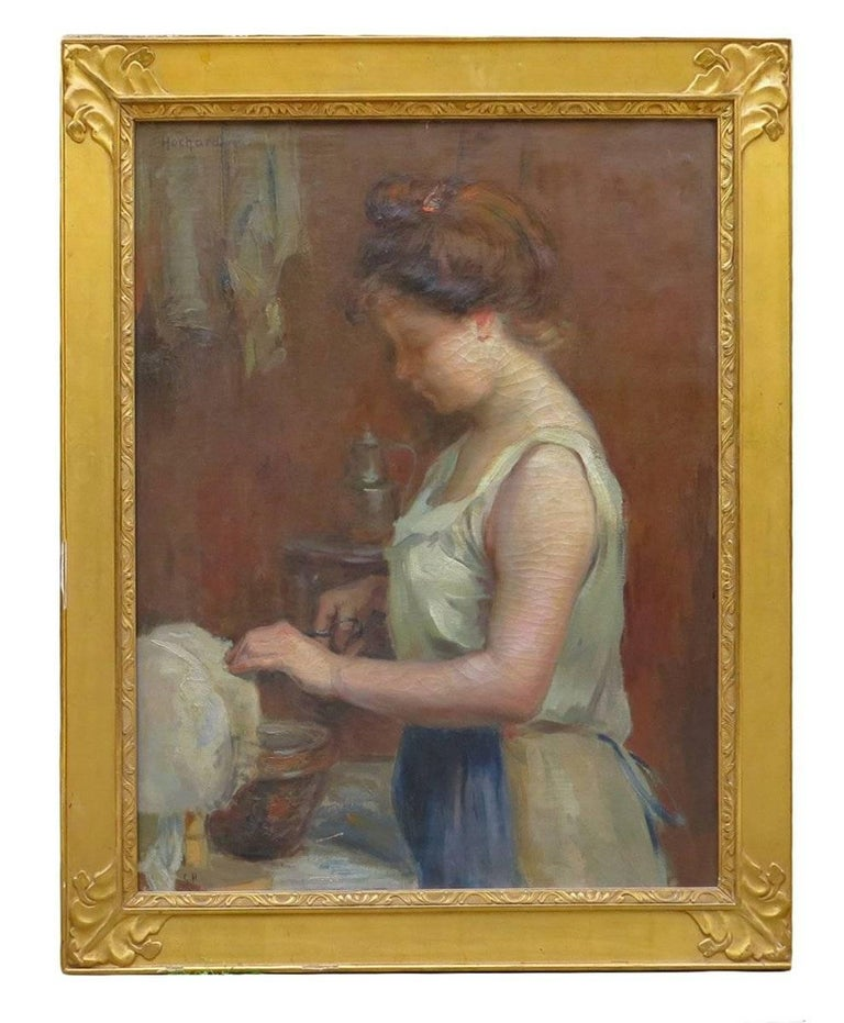 Gaston Hochard Figurative Painting - The Lacemaker