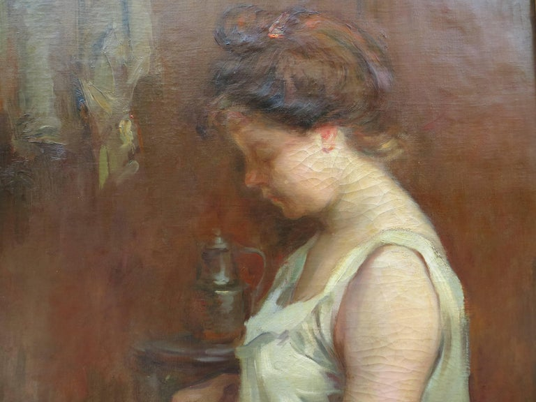The Lacemaker - Brown Figurative Painting by Gaston Hochard